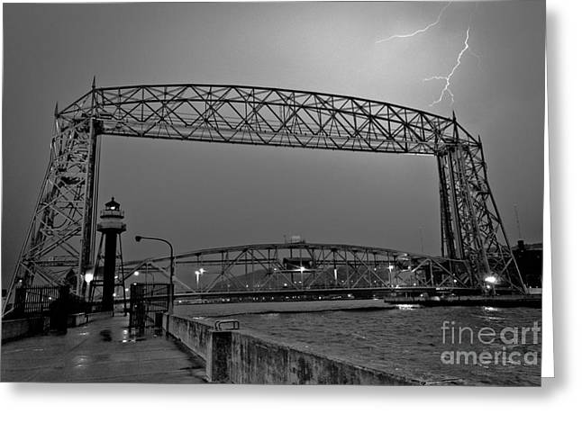 Lift Greeting Cards - Duluth Lift Bridge Under Lightning Greeting Card by Shutter Happens Photography