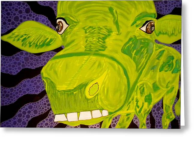 Dumb And Dumber Greeting Cards - Dumb Green Cow Greeting Card by Nick Reaves