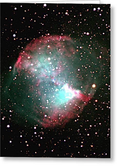 Stellar Evolution Greeting Cards - Dumbbell Planetary Nebula (m27) Greeting Card by Mpia-hd, Birkle, Slawik