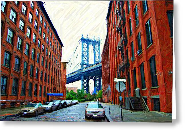 Times Square Digital Art Greeting Cards - Sketch of DUMBO Neighborhood in Brooklyn Greeting Card by Randy Aveille