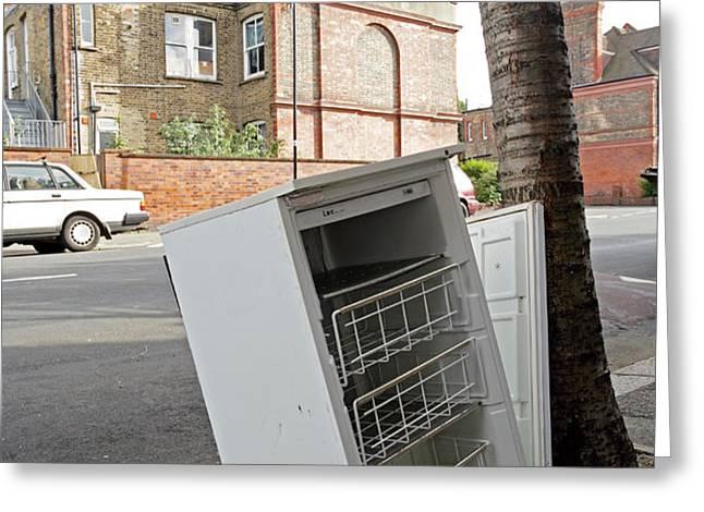 Dumped Refrigerator Greeting Card by Carlos Dominguez