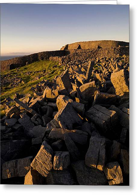 Inishmore Greeting Cards - Dun Aengus Fort On Inishmore Greeting Card by Chris Hill