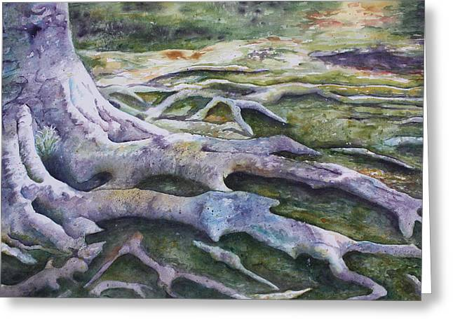 Patsy Sharpe Paintings Greeting Cards - Dunbar Cave Roots  Greeting Card by Patsy Sharpe