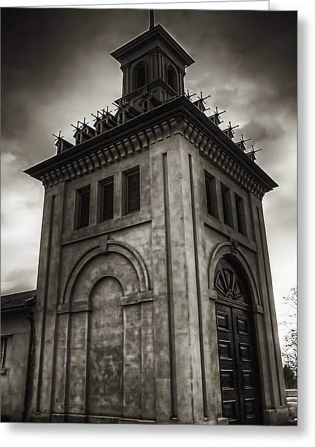 Dundurn Castle Greeting Cards - Dundurn Castle Aviary Tower BW Greeting Card by Larry Simanzik