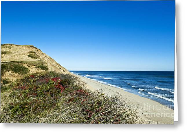 Truro Greeting Cards - Dune Cliffs and Beach Greeting Card by John Greim