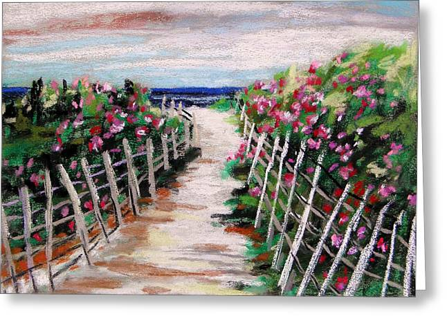 Painted Wood Pastels Greeting Cards - Dune Fence Greeting Card by John  Williams