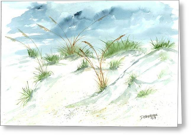 California Beaches Drawings Greeting Cards - Dunes 3 seascape beach painting print Greeting Card by Derek Mccrea
