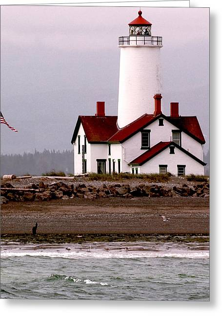 Juan De Fuca Greeting Cards - Dungeness Lighthouse Greeting Card by Alvin Kroon