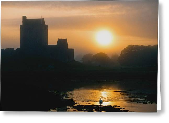 Recently Sold -  - Reflections Of Sun In Water Greeting Cards - Dunguaire Castle, Kinvara, Co Galway Greeting Card by The Irish Image Collection