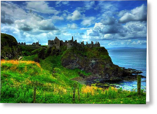 Kim Mixed Media Greeting Cards - Dunluce Castle Greeting Card by Kim Shatwell-Irishphotographer
