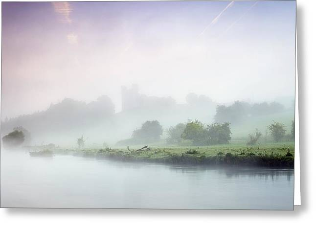Foggy Day Greeting Cards - Dunmoe Castle Seen Through The Mist On Greeting Card by Peter McCabe