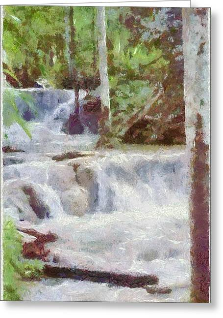 Jamaican Greeting Cards - Dunn River Falls Greeting Card by Jeff Kolker