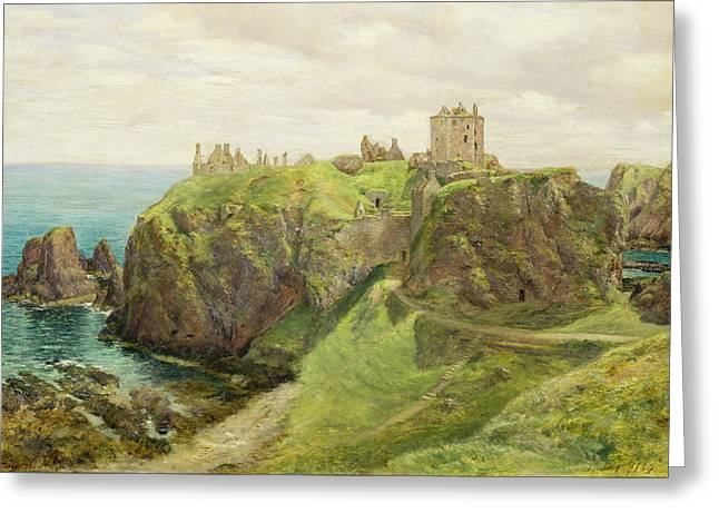 Cliffs Paintings Greeting Cards - Dunnottar Castle Greeting Card by Sir George Reid