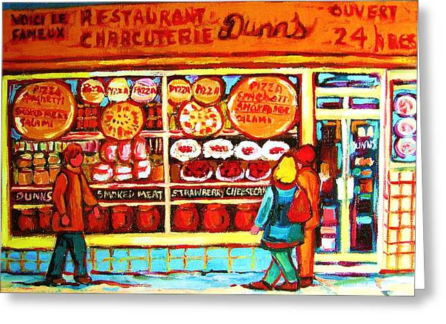 Montreal Pizza Places Greeting Cards - Dunns Treats And Sweets Greeting Card by Carole Spandau