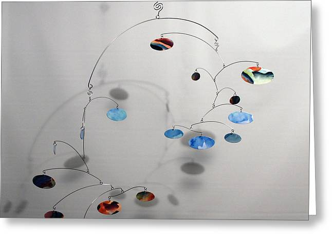 Ceiling Mobile Greeting Cards - Duplicity Style Kinetic Mobile Sculpture Greeting Card by Carolyn Weir