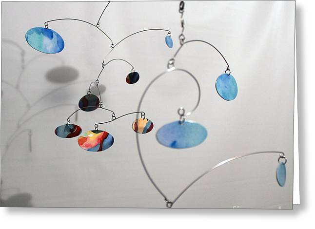 Ceiling Mobile Greeting Cards - Duplicity Style Kinetic Mobile Watercolor Sculpture Greeting Card by Carolyn Weir