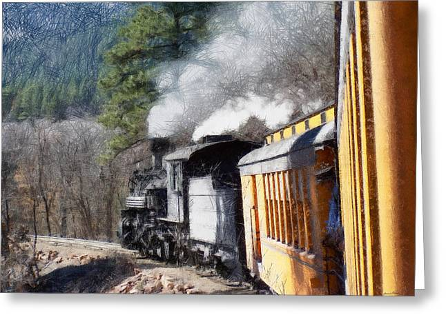 Old Town Digital Greeting Cards - Durango Silverton Painterly 2 Greeting Card by Ernie Echols