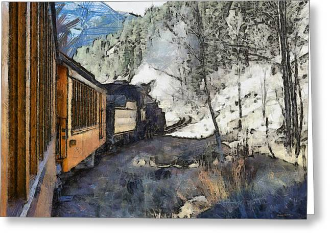 Old Town Digital Greeting Cards - Durango Silverton Painterly Greeting Card by Ernie Echols