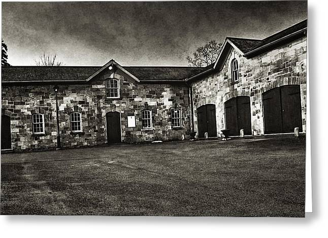Dundurn Castle Greeting Cards - Durdurn Castle Coach House BW Greeting Card by Larry Simanzik