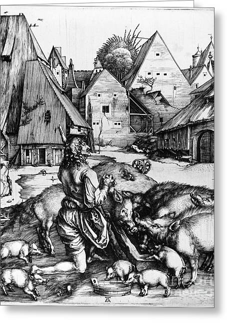 Boy Praying Greeting Cards - Durer: Prodigal Son, 1496 Greeting Card by Granger