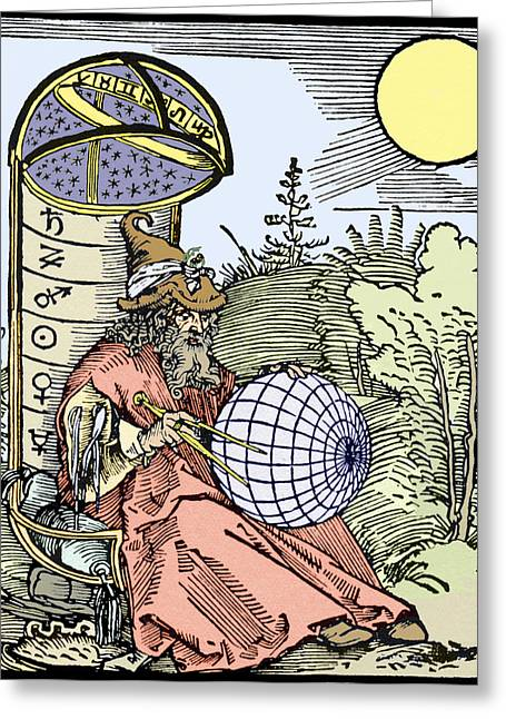 Astronomers Greeting Cards - Durers Astronomer, 1504 Greeting Card by Sheila Terry