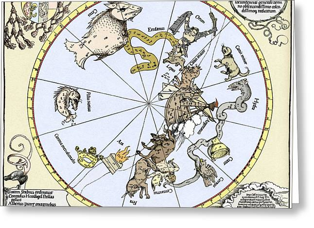 Star Chart Greeting Cards - Durers Celestial Globe, 1515 Greeting Card by Sheila Terry