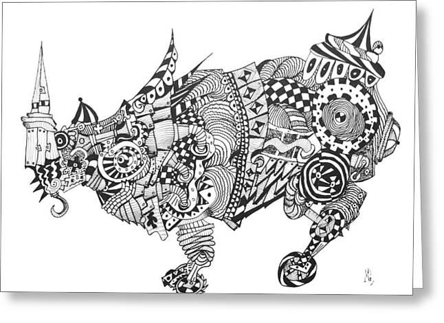 Rhinoceros Drawings Greeting Cards - Durers rhino revised Greeting Card by Myron Gilbert