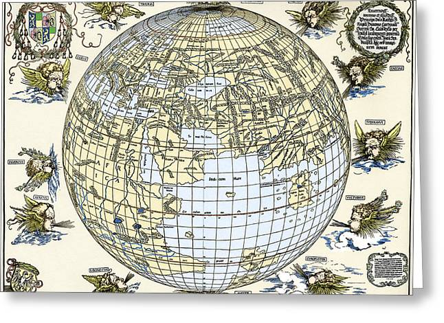 Durer's World Map, 1515 Greeting Card by Sheila Terry