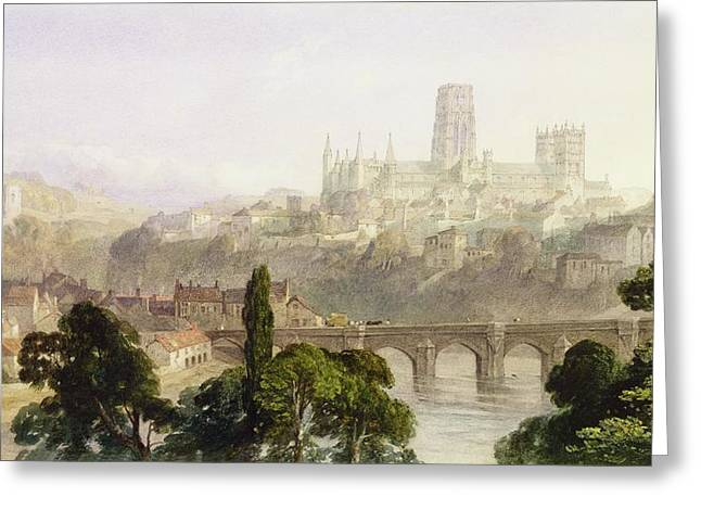 Graphite Paintings Greeting Cards - Durham Cathedral Greeting Card by George Arthur Fripp