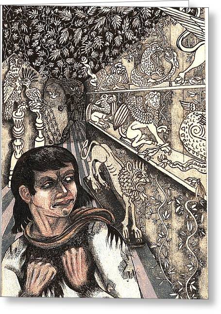 Tendrils Drawings Greeting Cards - Duryano In The Statue Room Greeting Card by Al Goldfarb