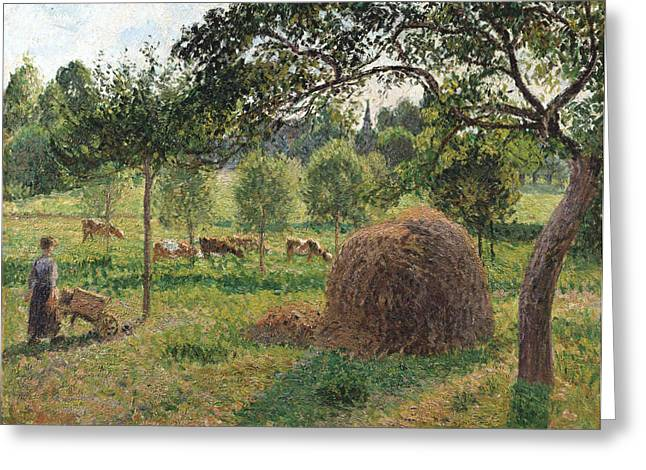Pasture Framed Prints Greeting Cards - Dusk at Eragny Greeting Card by Camille Pissarro