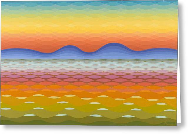 Op Art Greeting Cards - Dusk at Lake Balaton Greeting Card by Emil Parrag