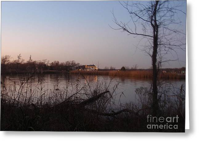 Peaceful Scenery Pyrography Greeting Cards - Dusk At The Lake Greeting Card by Valia Bradshaw