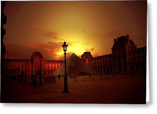 Dusk At The Louvre Greeting Card by Carrie OBrien Sibley
