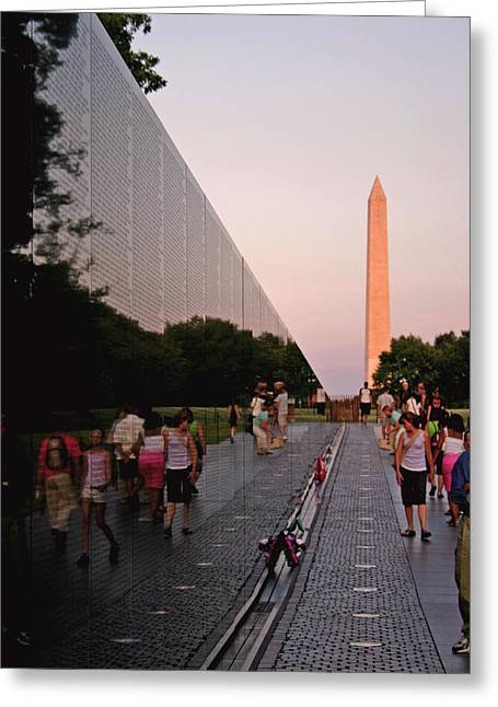 Viet Nam Greeting Cards - Dusk at the Viet Nam Veterans Memorial Greeting Card by Brian M Lumley