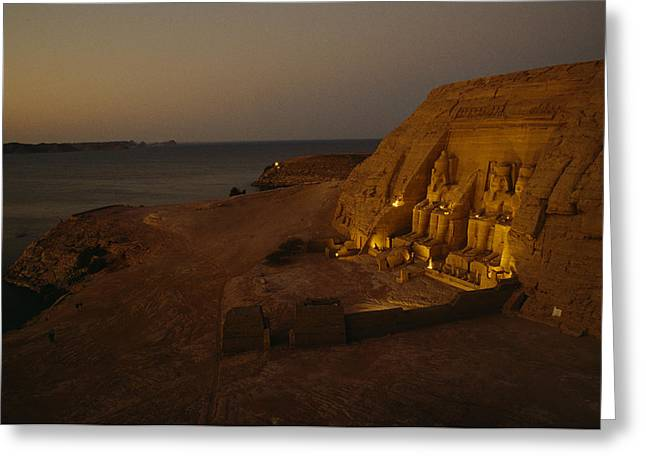 Dusk Descends On Abu Simbel With Lake Greeting Card by O. Louis Mazzatenta