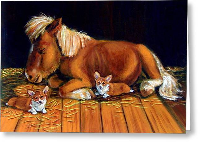 Puppies Paintings Greeting Cards - Dusk in the Barn - Pembroke Welsh Corgi Greeting Card by Lyn Cook
