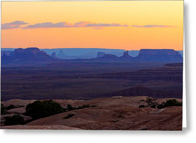 Dusk Muley Point And Monument Valley Greeting Card by Troy Montemayor