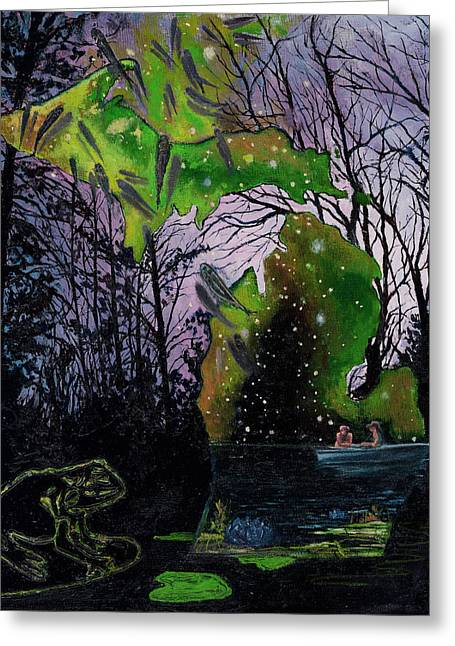 Floating Girl Greeting Cards - Dusk on a Lake Greeting Card by Trisha Moran