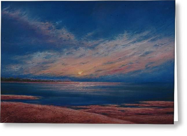 Set Pastels Greeting Cards - Dusk Over Distant Ocean City Greeting Card by Deb Spinella