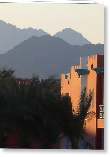 Sinai Mountain Greeting Cards - Dusk over Sinai Greeting Card by Graham King