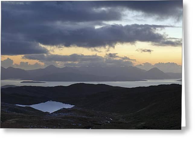 Dusk panorama of Skye Greeting Card by Gary Eason