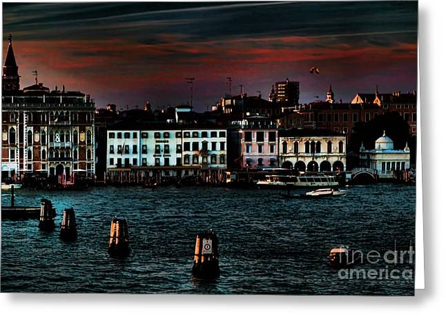 Toms Place Greeting Cards - Dusk Venice Italy Greeting Card by Tom Prendergast