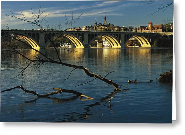 Dusk View Of Georgetown U. Beyond Key Greeting Card by Raymond Gehman