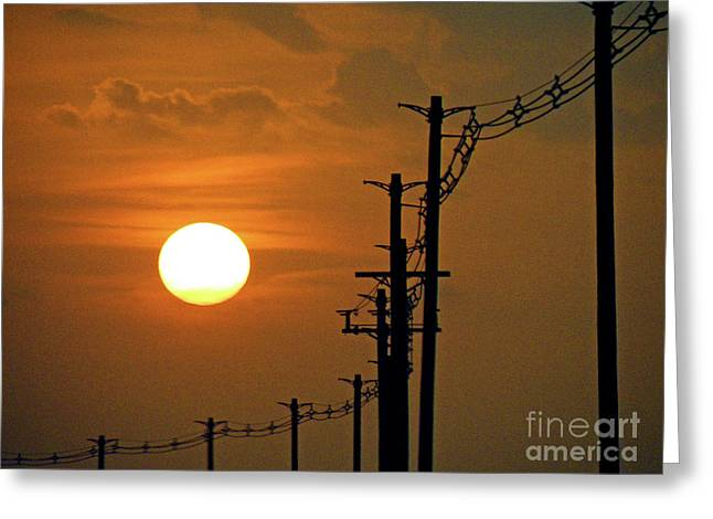 Sunset Greeting Cards Greeting Cards - Dusk With Poles Greeting Card by Joe Jake Pratt