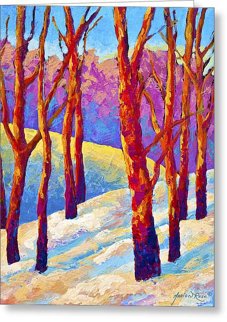 Birch Trees Greeting Cards - Dusks Veil Greeting Card by Marion Rose