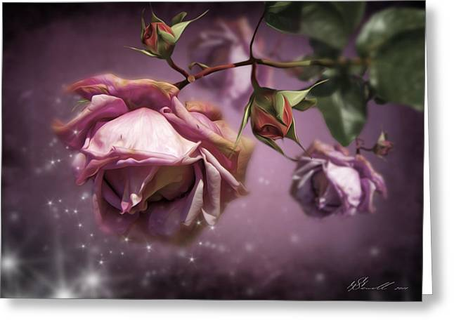Twinkle Greeting Cards - Dusky Pink Roses Greeting Card by Svetlana Sewell