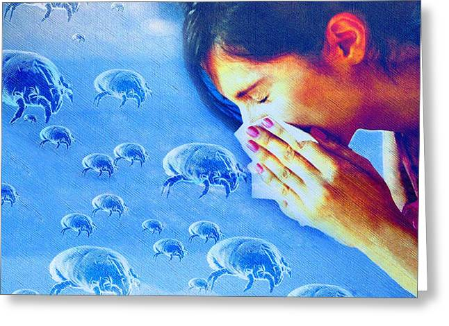 Dust Mite Allergy, Conceptual Artwork Greeting Card by Hannah Gal