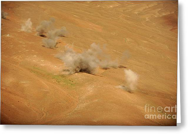 Dust Rises From The Impact Points Of Kp Greeting Card by Stocktrek Images