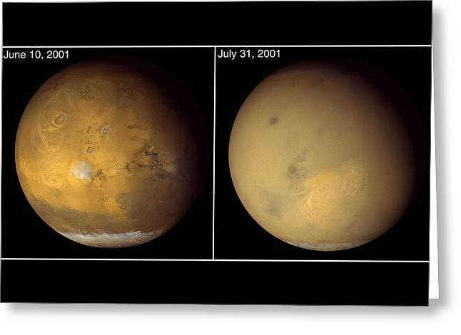 Space Dust Greeting Cards - Dust Storms And Haze Cloud Most Of Mars Greeting Card by Nasa
